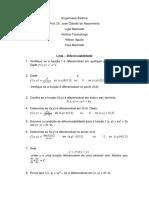 Diferenciabilidade - Lista