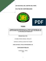 ADMINISTRACION FINANCIERA EN LA TOMA DE DECISIONES EN LAS INSTITUCIONES EDUCATIVAS PRIVADAS DEL N