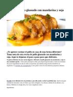 Receta de Pollo glaseado con mandarina y soja