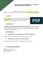 PROCEDIMIENTO PARA ELECCIÓN, INSPECCIÓN, REPOSICIÓN, USO Y CUIDADO DE LOS ELEMENTOS DE PROTECCIÓN PERSONAL