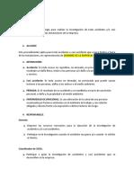 PROCEDIMIENTO  DE INVESTIGACION DE ACCIDENTES Y CASI ACCIDENTES