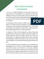 HISTORIA Y RECETA DEL BEEF STROGANOFF