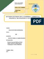 ANALISIS DEL ENTORNO EMPRESARIAL - ENTORNO EXTERNO DE LA EMPRESA AMBIENTAL, POLÍTICO, TECNOLÓGICO Y ECONÓMICO