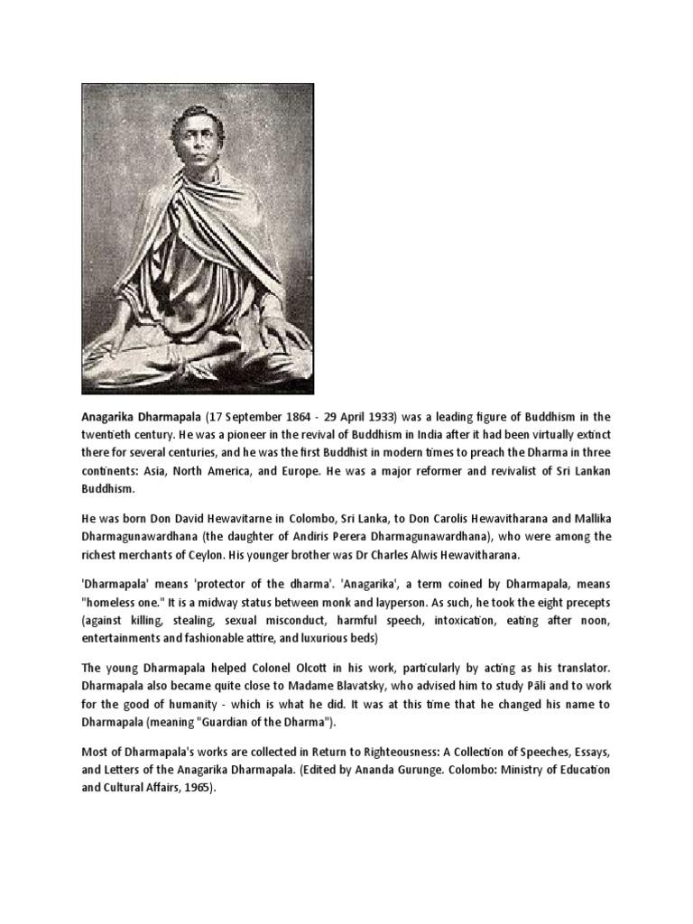 anagarika dharmapala sri lanka united kingdom