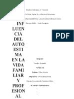 ENSAYO INFLUENCIA DEL AUTOESTIMA EN LA FAMILIA Y PROFESIONAL