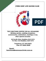 Kawana Waters Surf Club l Functions Pack