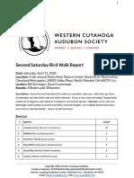 Saturday Bird Walk April 11, 2020 at Rocky River Nature Center Report