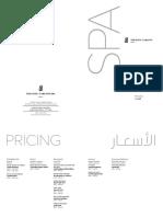 The Ritz-Carlton Spa, Riyadh Pricelist