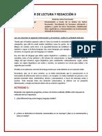 ACTIVIDADES TALLER DE LECTURA Y REDACCIÓN II