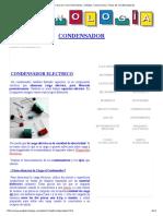Condensador Que es, Funcionamiento, Códigos, Conexiones y Tipos de Condensadores