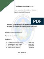 ANALISIS ECONOMETRICO DE LA DEMANDA DE GAS NATURAL EN BOLIVIA EN LOS PERIODOS (1998-2016).