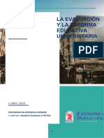 La Evaluación y Reforma Educativa Universitaria