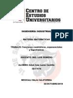 Funciones cuadráticas, exponenciales y logarítmicas