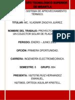 COLECTOR SOLAR; ORTEGA AGUILAR KRISTELL, RUIZ HERNANDEZ EMANUEL