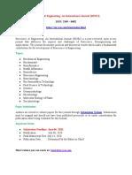 Bioscience Engineering an International Journal BIOEJ