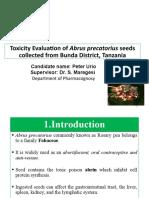 Toxicity Evaluation of Abrus precatorius seeds collected from Bunda District, Tanzania