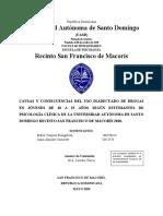 CAUSAS Y CONSECUENCIAS DEL USO INADECUADO DE DROGAS EN JÓVENES DE 18 A 25 AÑOS SEGÚN ESTUDIANTES DE PSICOLOGÍA CLÍNICA DE LA UNIVERSIDAD AUTÓNOMA DE SANTO DOMINGO RECINTO SAN FRANCISCO DE MACORÍS 2020..docx