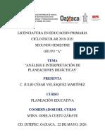 ACTIVIDAD I. ANÁLISIS E INTERPRETACIÓN DE PLANEACIONES DIDÁCTICA JCVM