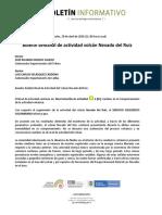 Boletín Semanal de Actividad Del Volcán Nevado Del Ruiz, Del 21 Al 27 de Abril de 2020