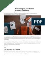 Abuso de antibióticos por pandemia aumentará muertes, dice OMS