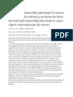 Exercitarea autorităţii părinteşti în comun de către ambii părinţi şi privarea de facto de exerciţiul autorităţii părinteşti în cazul răpirii internaţionale de minori