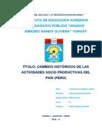 Cambios Historicos de las actividades socio productivas del pais (peru) - samuel