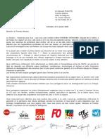 Courrier à Edouard Philippe 31 janvier 2020 des secrétaires généraux des syndicats siégeant à l'ANCV