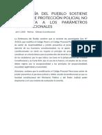 DEFENSORÍA DEL PUEBLO SOSTIENE QUE LEY DE PROTECCIÓN POLICIAL NO SE AJUSTA A LOS PARÁMETROS CONSTITUCIONALES