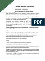 SEMINARIO DE URBANISMOEVALUACIONES