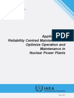 IAEA TECDOC-1590 Application of Reliability Centred Maintenance to Optimize Operation and Maintenance in Nuclear Power Plants