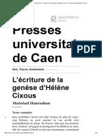 L'écriture de la genèse d'Hélène Cixous