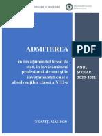 Neamt - Brosura Admitere 2020-2021