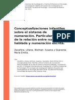Zacanino, Liliana, Wolman, Susana y Q (..) (2011). Conceptualizaciones infantiles sobre el sistema de numeracion.