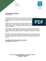 Comunicado de Prensa Junio 2 de 2020
