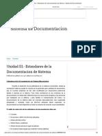 Unidad III.- Estandares de la Documentacion de Sistema - Sistema de Documentacion