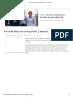 Fórmula del punto de equilibrio y ejemplo - GestioPolis