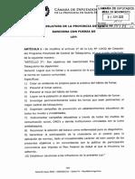 Proyecto de Ley Modificación Programa Provincial de Control de Tabaquismo