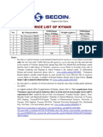 2011 Price List of Kynam
