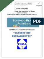 GUÍA DE TRABAJO N° 2 - TIPOS DE TEXTOS lengua.