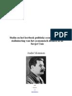 Stalin en Het Leerboek Politieke Economie of de Stalinisering Van Het Economisch Denken in de Sovjet Unie