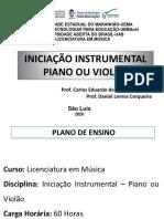 Slide de Capacitação - Iniciação Intrumental Piano e Violão