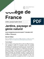 CLÉMENT, Gilles. Jardins, paysage et génie naturel