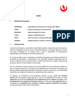 Sílabo Gestión de Proyectos - Roberto Von Torres