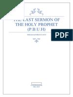 The last sermon of the holy prophet