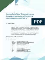 Recomendaciones de Precauciones para Control de Infecciones de Anestesiólogos durante COVID-19 27-04-2020