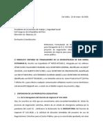 CARTA COMISION DE TRABAJO PROPUESTAS LEGISLATIVAS