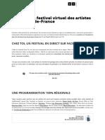 Chez Toi, le festival virtuel des artistes des Hauts-de-France - Actualité - Lille La Nuit.com (1)