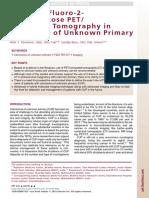 Rol del PET CT FDG en Cancer de origen desconocido Clinics 16