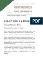 CSL109-Intro a la Biblia-Armonia Ciencia y Biblia