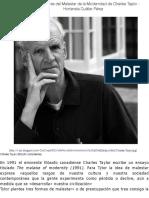 HC-Tres indicadores del Malestar de la Moderndad de Charles Taylor - Hortensia Cuéllar Pérez